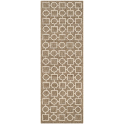 Safavieh Courtyard Collection Drew Geometric Indoor/Outdoor Runner Rug