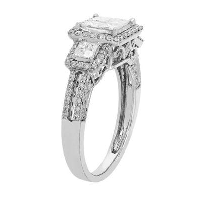 Love Lives Forever Womens 1 CT. T.W. Multi-Shape White Diamond 10K Gold 3-Stone Ring