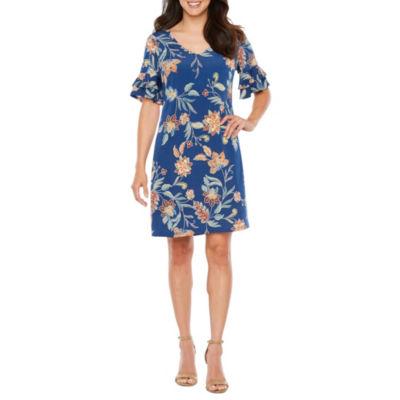 R & K Originals Elbow Sleeve Floral Shift Dress