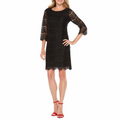 Ronni Nicole 3/4 Sleeve Lace Pattern Sheath Dress