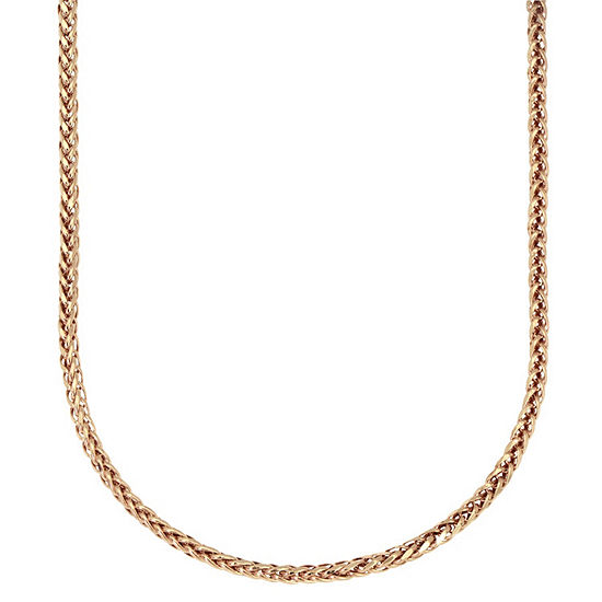 14K Gold 18 Inch Hollow Wheat Chain Necklace