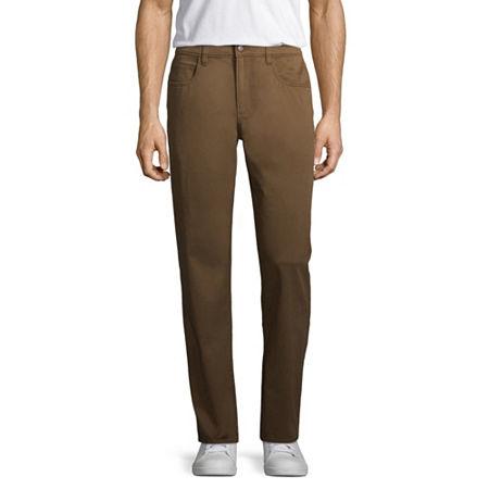St. John's Bay Stretch Straight Fit 5 Pocket Pants, 29 30, Brown