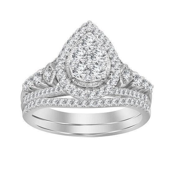 Womens 1 CT. T.W. Genuine White Diamond 14K White Gold Bridal Set