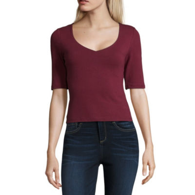Almost Famous Elbow Sleeve V Neck Knit Blouse-Juniors