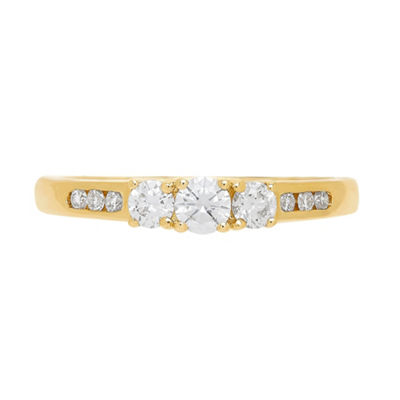 Love Lives Forever Womens 1/5 CT. T.W. White Diamond 14K Gold 3-Stone Ring