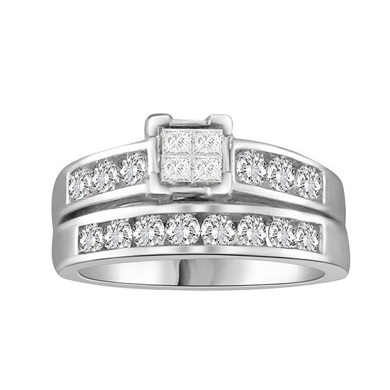 Womens 1 CT. T.W. Genuine White Diamond 10K White Gold Bridal Set