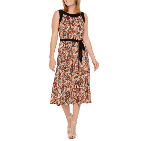 Perceptions Sleeveless Paisley Fit & Flare Dress