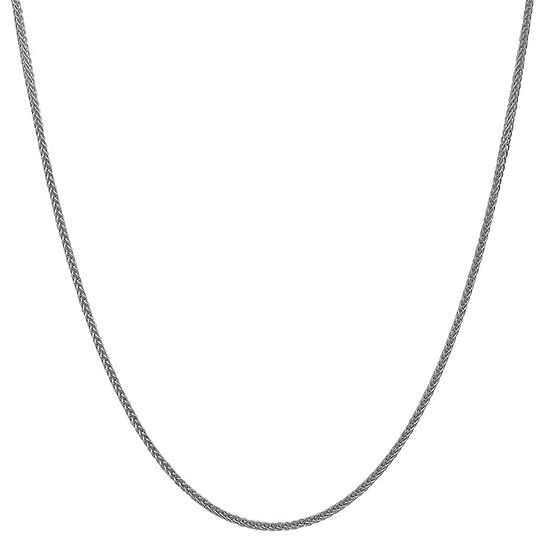 14K White Gold Semisolid Wheat Chain Necklace