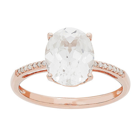 Womens Lab Created White Sapphire 10K Rose Gold Cocktail Ring