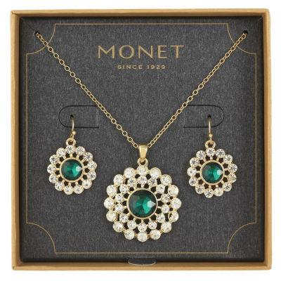 Monet Jewelry Green Gold Tone 2-pc. Jewelry Set