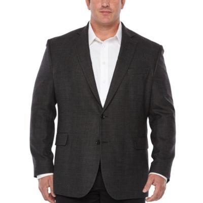 Stafford Merino Wool Stretch Charcoal Dot Classic Fit Sport Coat - Big and Tall