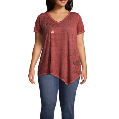 Unity World Wear V-Neck Burnout Asymmetric Tee- Plus