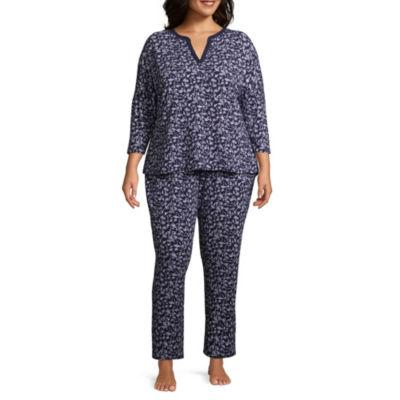 Liz Claiborne Jersey 3/4 Sleeve Y Neck Pajama Set-Plus