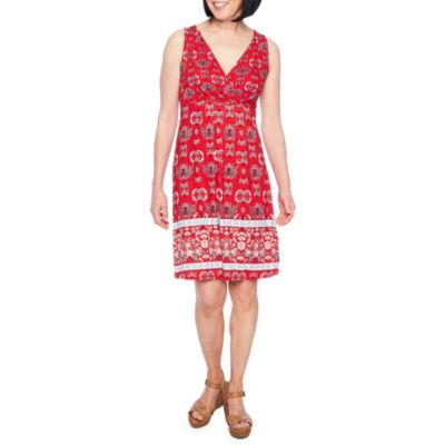 St. John's Bay Sleeveless Medallion A-Line Dress