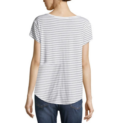 Arizona Short Sleeve V Neck Stripe T-Shirt-Womens Juniors