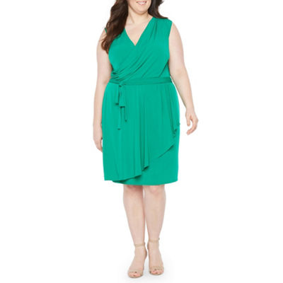 London Times Sleeveless Wrap Dress - Plus