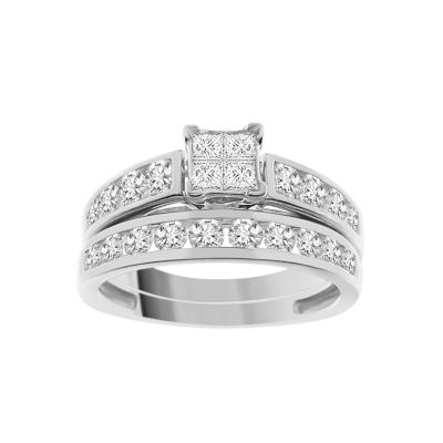 Womens 1 1/2 CT. T.W. White Diamond 14K White Gold Bridal Set