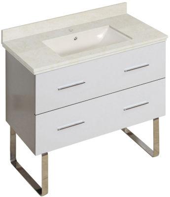 36-in. W Floor Mount White Vanity Set For 1 Hole Drilling Beige Top Biscuit UM Sink