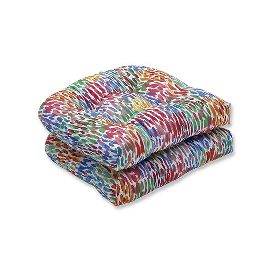 Pillow Perfect Set of 2 Make It Rain Zinnia Wicker Patio Seat Cushion