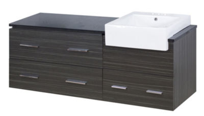 60.75-in. W Wall Mount Dawn Grey Vanity Set For 3H4-in. Drilling Black Galaxy Top