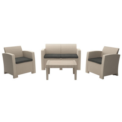 CorLiving All-Weather 4pc Beige Conversation Set with Dark Grey Cushions