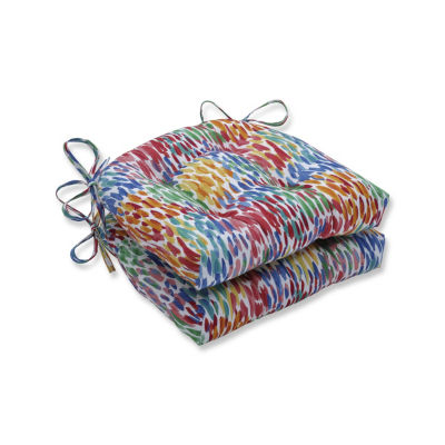 Pillow Perfect Set of 2 Make It Rain Zinnia Reversible Patio Seat Cushions