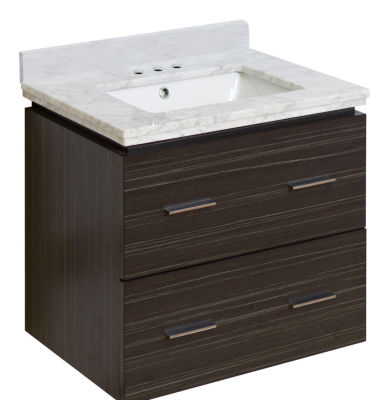 23.75-in. W Wall Mount Dawn Grey Vanity Set For 3H4-in. Drilling Bianca Carara Top White UM Sink