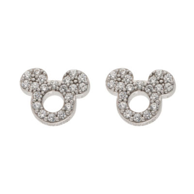 Disney White Cubic Zirconia Sterling Silver 7.9mm Mickey Mouse Stud Earrings