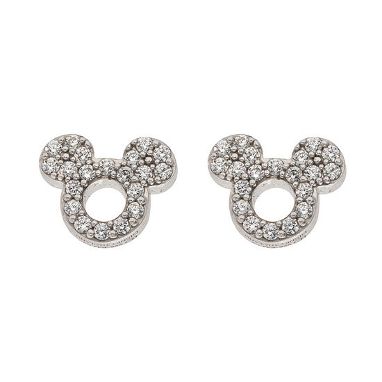 Disney Collection White Cubic Zirconia Sterling Silver 7.9mm Mickey Mouse Stud Earrings