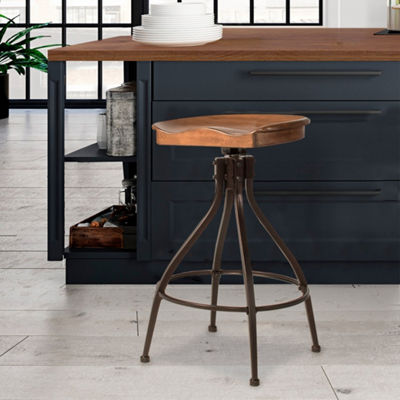 Worland Adjustable Swivel Backless Stool