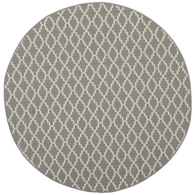 Safavieh Courtyard Collection Bora Geometric Indoor/Outdoor Round Area Rug