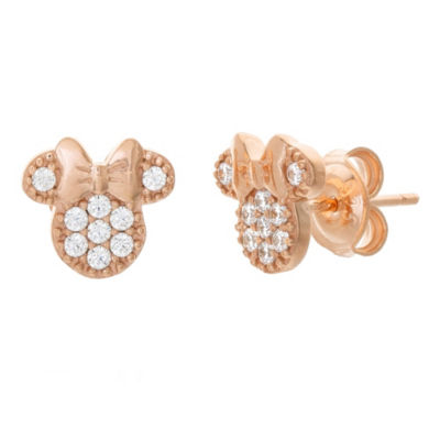 Disney White Cubic Zirconia 14K Rose Gold Over Silver 8.9mm Minnie Mouse Stud Earrings