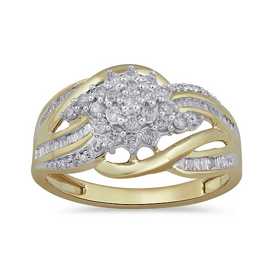 Womens 1/2 CT. T.W. Genuine White Diamond 10K Gold Cluster Cocktail Ring