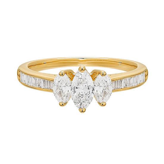 Love Lives Forever Womens 1 Ct Tw Genuine White Diamond 14k Gold 3 Stone Engagement Ring