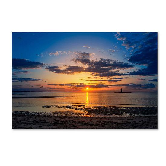 Trademark Fine Art PIPA Fine Art Sunset Breakwater Lighthouse Giclee Canvas Art