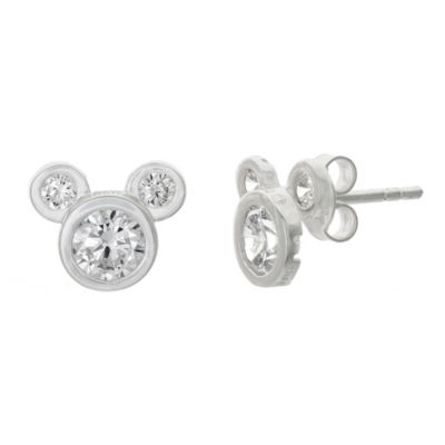 Disney White Cubic Zirconia Sterling Silver 8.9mm Mickey Mouse Stud Earrings