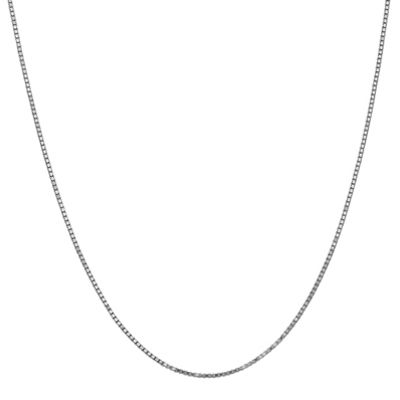 10K White Gold 16 Inch Solid Box Chain Necklace