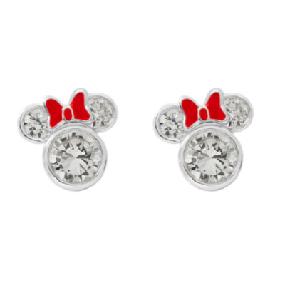 Disney White Cubic Zirconia 10mm Minnie Mouse Stud Earrings
