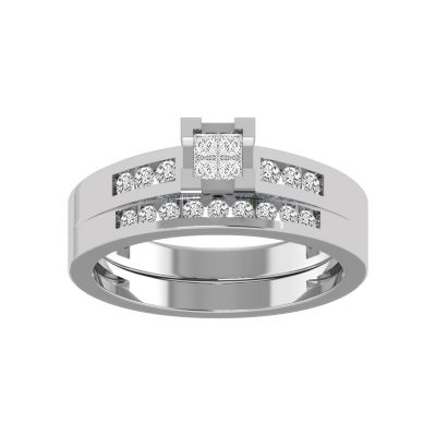 Womens 1/2 CT. T.W. White Diamond 10K White Gold Bridal Set