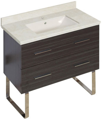 36-in. W Floor Mount Dawn Grey Vanity Set For 1 Hole Drilling Beige Top Biscuit UM Sink
