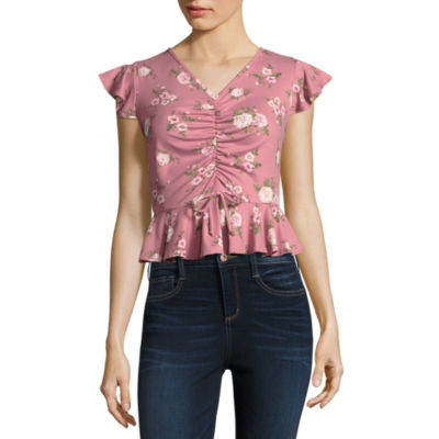 Cut And Paste Sleeveless V Neck Knit Blouse-Juniors