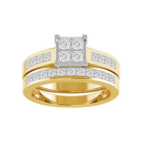 Womens 1 1 2 Ct Tw Genuine White Diamond 14k Gold Bridal Set