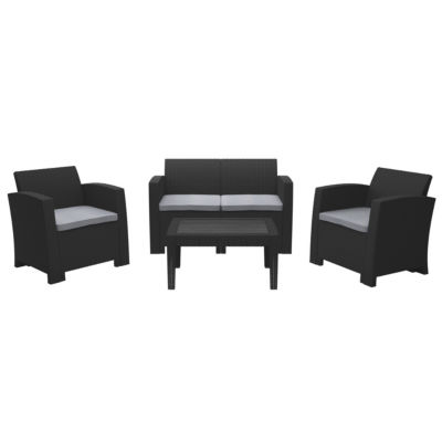 CorLiving All-Weather 4pc Black Conversation Set with Light Grey Cushions