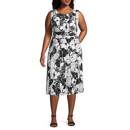 Perceptions Sleeveless Floral Fit & Flare Dress - Plus