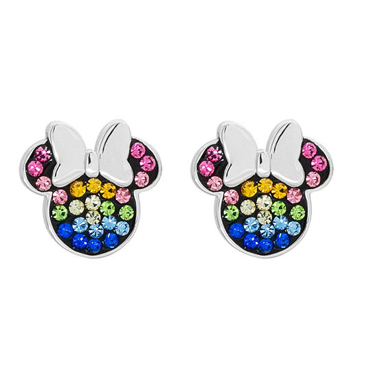 Disney Multi Color Crystal Sterling Silver 111mm Minnie Mouse Stud Earrings
