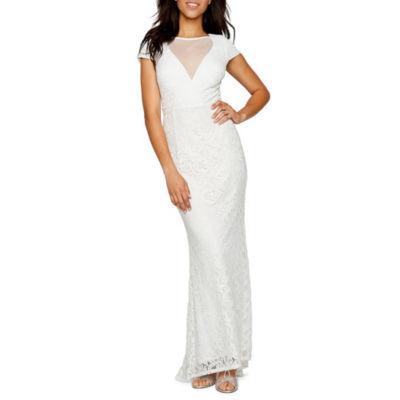 Blu Sage Short Sleeve Empire Waist Lace Wedding Gown