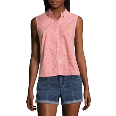 Us Polo Assn. Sleeveless Button-Front Shirt-Juniors