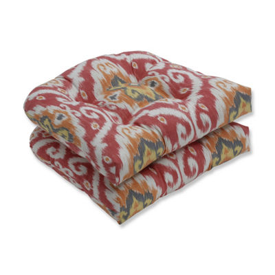 Pillow Perfect Set of 2 Ubud Coral Wicker Patio Seat Cushion