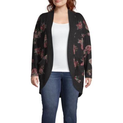Arizona Womens Long Sleeve Floral Cardigan-Juniors Plus