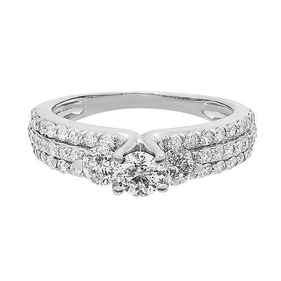 Love Lives Forever Womens 1 1/4 CT. T.W. Genuine White Diamond 14K Gold 3-Stone Engagement Ring